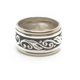Sterling Silver and 14KY Floral Spinner Ring
