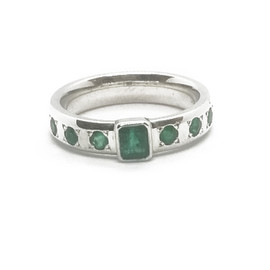 Sterling Silver Emerald Band