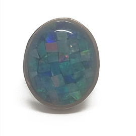 Sterling Silver and 14KY Mosaic Opal Ring
