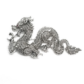 Sterling Silver Dragon Brooch