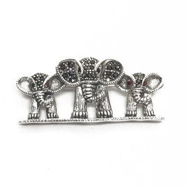 Sterling Silver Multi Elephant Brooch
