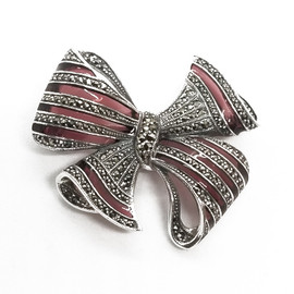 Sterling Silver Bow Marcasite Stone Brooch