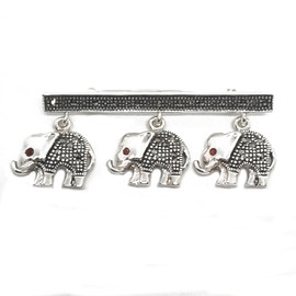Sterling Silver Baby Elephant Garnet Eyes Brooch