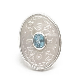 Sterling Silver Mother of Pearl w/Blue Topaz Ring
