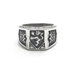 Sterling Silver Heart of a Lion Rampant Ring