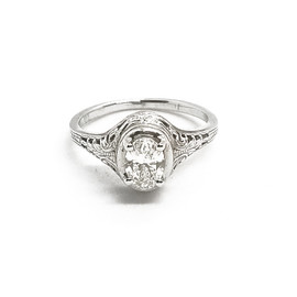 14K White Gold Oval Solitaire Ring