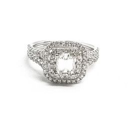 18K White Gold Emerald Cut Diamond Ring