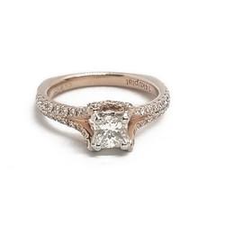 14KR and Platinum Princess Cut Diamond Ring