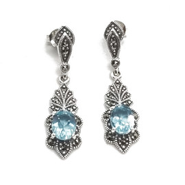 Sterling Blue Topaz and Marcasite Earrings