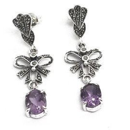 Sterling Silver Marcasite and Amethyst Earrings