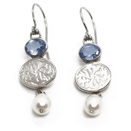 Sterling Silver Mother of Pearl and Blue Topaz Earrings