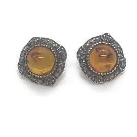 Sterling Silver Amber and Marcasite Earrings