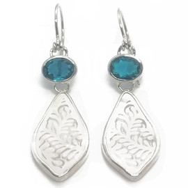 Hand Carved Sterling Silver Mother of Pearl and Blue Topaz Earrings