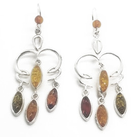 Sterling Silver Tri-Colored Amber Earrings