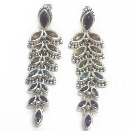 Sterling Silver Multi Gem Earrings
