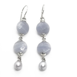 Sterling Silver and Blue Lace Agate Earrings