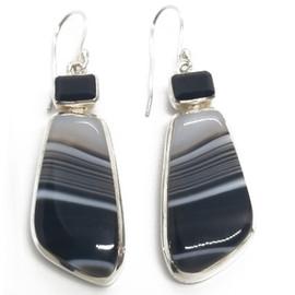 Sterling Silver Botswana Agate Earrings