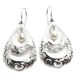 Sterling Silver and Pearl Earrings