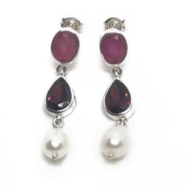 Sterling Ruby, Garnet and Pearl Earrings