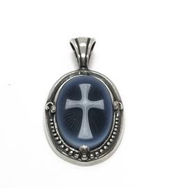 Sterling Silver Blue Agate Cross