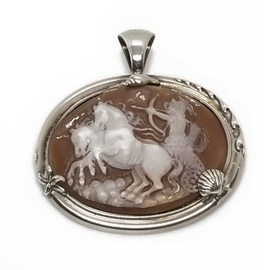 Sterling Silver Roman Soldier Cameo Pendant