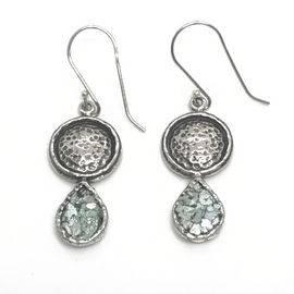 Sterling Silver Ancient Roman Glass Earrings