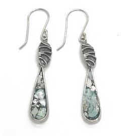 Sterling Silver Tear Drop Ancient Roman Glass Earrings