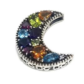 Sterling Silver Multi Stone Moon Pendant