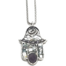 Sterling Silver Ancient Roman Glass w/Pearls and Amethyst Pendant