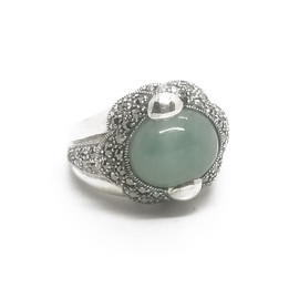 Sterling Silver Jade and Marcasite Ring