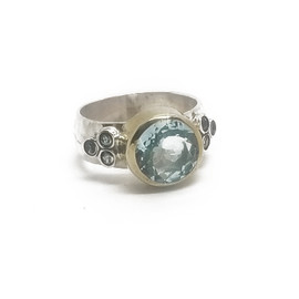 Sterling Silver and 9KY Blue Topaz Ring