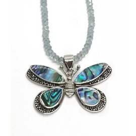Sterling Silver Abalaone Butterfly Pendant