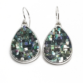 Sterling Silver Tear Drop Mosaic Abalone Earrings