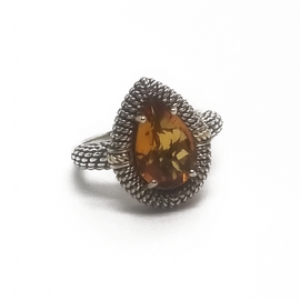 Sterling Silver and 18KY Citrine Ring