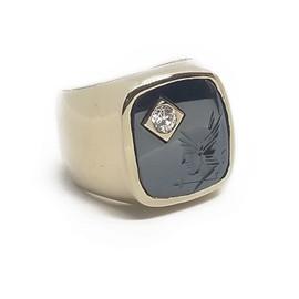 14KY Hematite Intaglio Ring