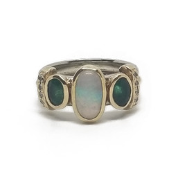 14KW&Y Opal, Emerald and Diamond S.L Original Ring