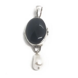 Sterling Silver, Onyx and Pearl Pendant