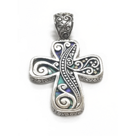 Sterling Silver, 18KY Abalone Cross