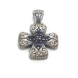 Sterling Silver, 18KY Cross w/Amethyst Pendant