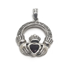 Sterling Silver Marcasites Claddagh Pendant