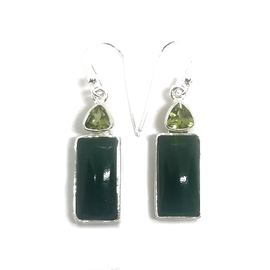 Sterling Silver Green Onyx and Peridot Earrings