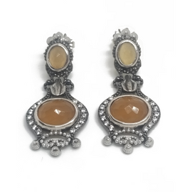 Sterling Silver Peach Moonstone Earrings
