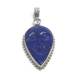 Sterling Silver Lapis Face Pendant