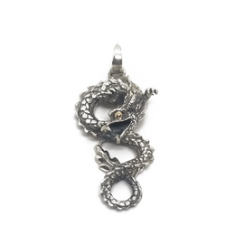 Sterling Silver and 18KY Dragon Pendant