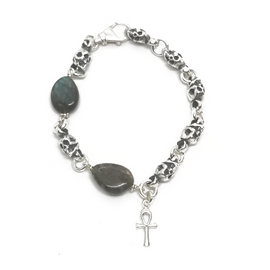 Sterling Silver and Bronze Skull Turquoise Bracelet