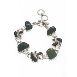 Sterling Silver Pink and Green Tourmaline Bracelet