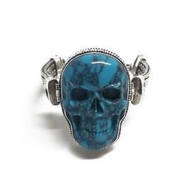 Sterling Silver Skull Turquoise Bracelet