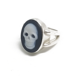 Sterling Silver Blue Agate Skull Ring