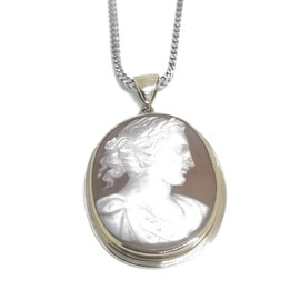 Sterling Silver and 14KY Roman Woman Cameo