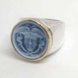 Sterling Silver 14KY Hermes Cameo Ring